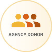 People icon with the words Agency Donor