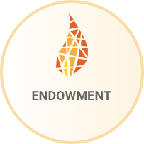 Flame icon with the word Endowment