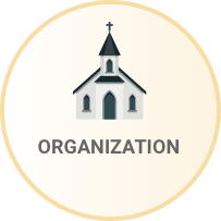 Church icon with the word Organization