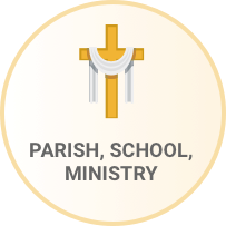 Cross icon with the words Parish School Ministry