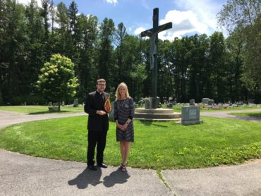 Fr. Brandon Kleckner and Lisa Louis at Calvary Cemetery